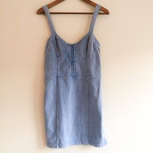 Free People Bustier Blue Terrycloth Minidress